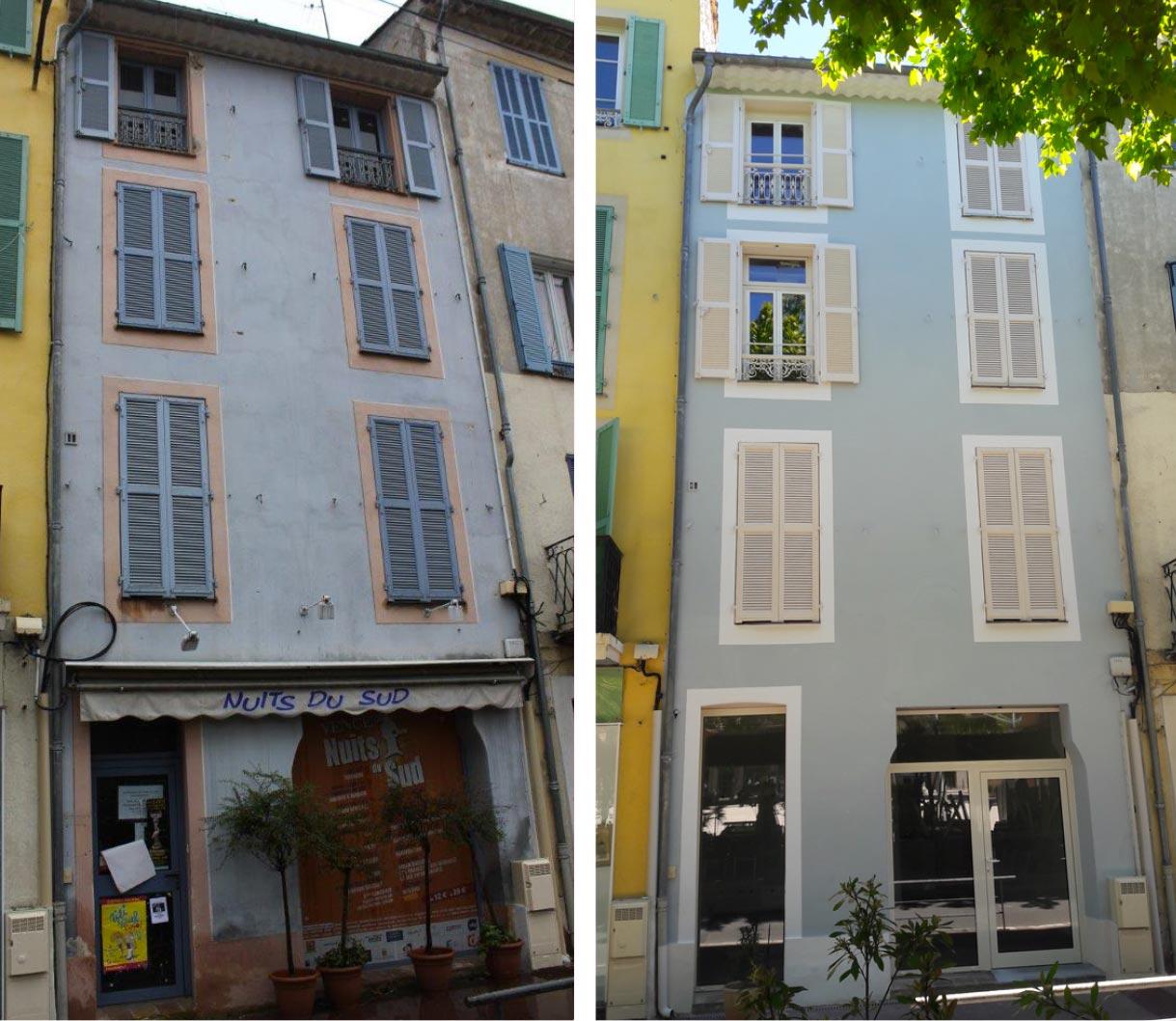 Rénovation façade travaux pendant